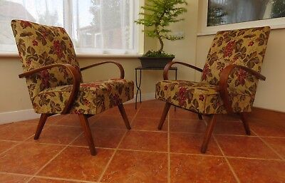 PAIR OF MID CENTURY VINTAGE CZECH HALABALA STYLE ARMCHAIRS  CHAIRS 1960s