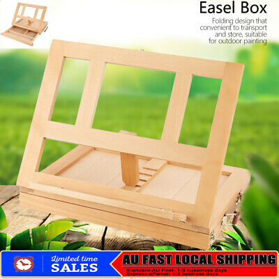 Paiting Adjustable tabletop with drawer folding wood easel box 33.5*26*6.3cm AU