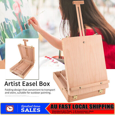 Wooden Tripod Art Easel Portable Sketch Drawing Box Artist Painting Foldable AU