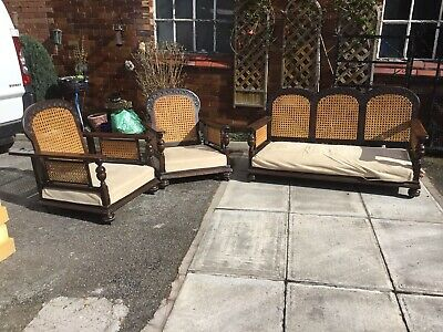 Antique / Vintage 1920s English 3 Piece Bergere Suite With Reclining Chairs