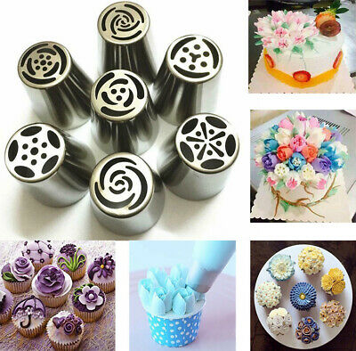 7Pcs DIY Russian Tulip Icing Piping Nozzle Cake Flower Decorating Baking Tips
