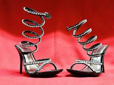 Black 8 1/2 Fredericks Hollywood High Heel Stiletto Platforms Shoes WrapUp Angle