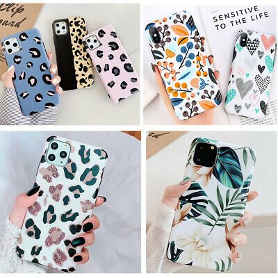 Leopard Heart Loquat Print Leaf Flower Case Cover F iPhone XS Max XR 7 8 Plus X