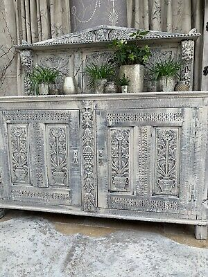 18 Century Continental  Antique Carved Angels Cherubs Gothic Cabinet Sideboard