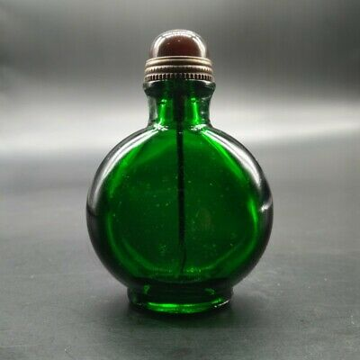 Collect Exquisite Antique green Colored glazed transparent snuff bottle ancient