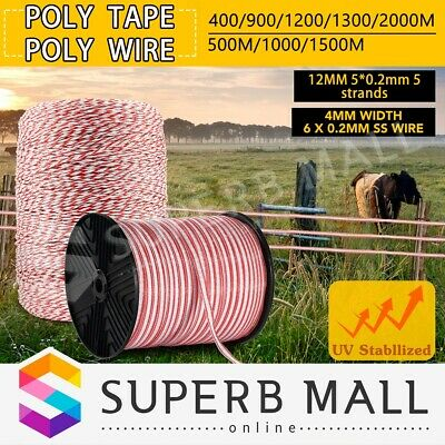 Polytape Roll Electric Fence Energiser Poly Tape Wire Insulator Stainless Steel