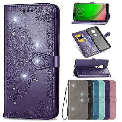 Bling Retro Leather Wallet Case Stand Cover For Motorola G6 Plus/G7 Play Power