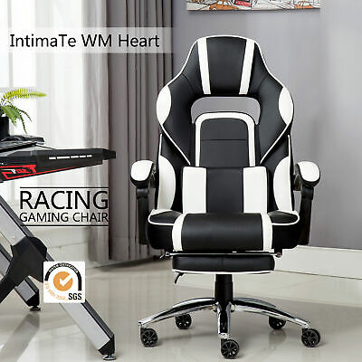 Gaming Racing Office Chair Computer Executive Recliner Adjustable White Footrest