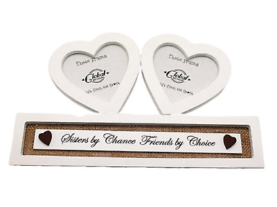 "Sisters Photo Frame Twin Hearts Tribute Sisters By Chance 4 x 3.5"" Cream F1354D"