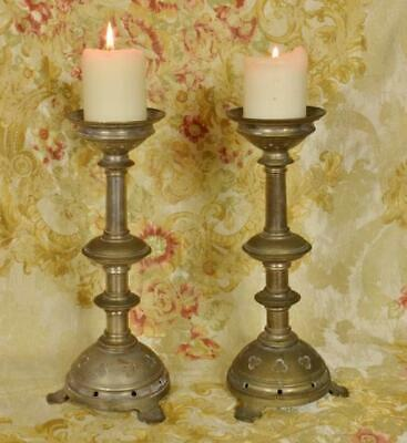 Pair Stunning Antique French Silvered Church Pricket Candlesticks, 19th Century
