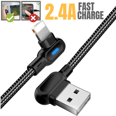 6FT 90 Degree Lightning USB SYNC Charger Cable Charging Data Cord iPhone X XR 8