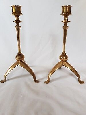 Stunning Pair Of Brass Candlesticks Arts & Crafts Medieval Style.