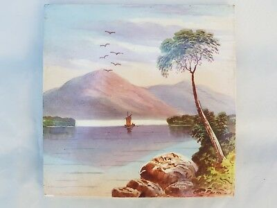 Scenic Mountain And Lake Handpainted Period Tile, Boat, Birds, Landscape, Tree