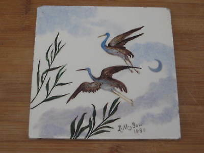 Minton Hand Hand Painted Large Flying Birds Tile Artist Signed