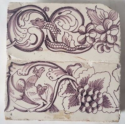 ANTIQUE DELFT TILE mythical dragons MANGANESE TWO BORDER TILES UNUSUAL