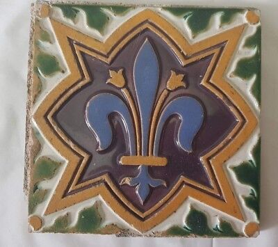 Majolica Fleur De Lis Design Antique Minton Tile Pugin Int