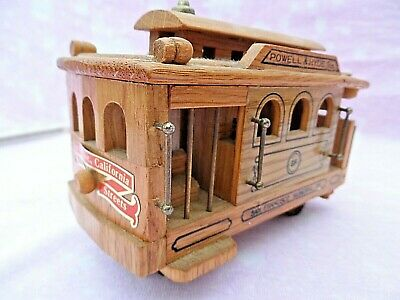 Vintage Wooden American Tramcar Model With Wind Up Tooth & Comb Musical Unit