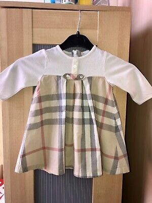 5578dbaa1da30 Burberry Baby Girls Dress With Classic Nova Check Detail. Age 3-6 Months