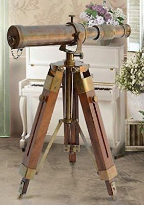 Antique Nautical Gift Decorative Solid Brass Telescope w/ Wooden Tripod Stand