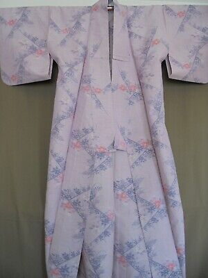 Authentic Japanese Yukata Kimono Silky Hemp Vintage Lavender Orange Flowers