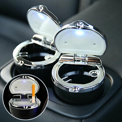 Cigarette Ash Cup Black Auto Portable Car Holder Ashtray with LED Light Travel