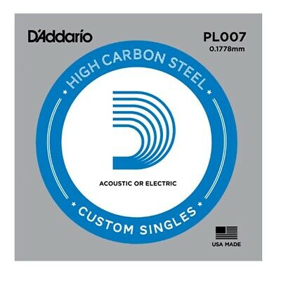 10 x D'Addario PL007 Single Plain Steel .007 Acoustic or Electric Guitar Strings