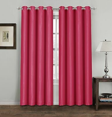 Pink Thermal Blackout Curtains Ready Made Eyelet Ring Top Lined Curtains