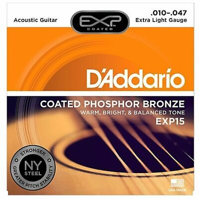 D'Addario EXP15 Coated Phosphor Bronze Extra Light Acoustic Strings 10-47
