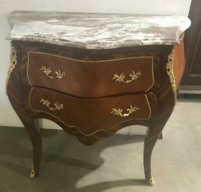 French Louis Style Mahogany 2 Drawer Marble Top Ormolu Commode/Bombe