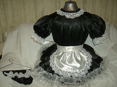 Sissy~Maids~ Adult Baby~Unisex Black Satin And White Lace Dress Nix Apron Outfit