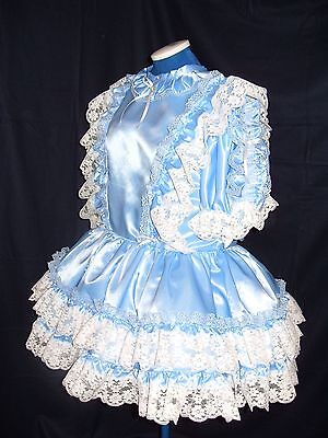 Sissy~Maids~Adult Baby~Unisex~Cd/Tv ~  Blue Satin And White Lace Dress