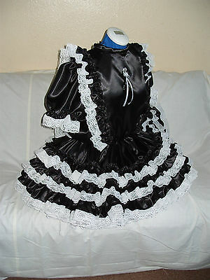 Sissy~Maids~Adult Baby~Unisex~Cd/Tv Black Satin And White Lace Dress