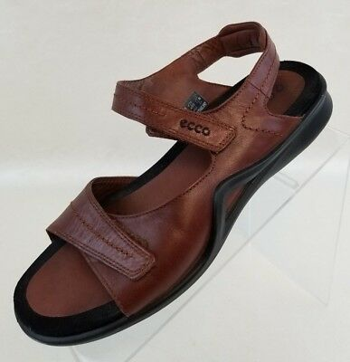 dc2a3dd1023afb ECCO Sandals Open Toe Straps Brown Leather Slip On Womens Shoes Sz EU 40 US  9.5
