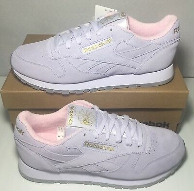 55a4cde1cfa Reebok Classics Womens Classic Leather GM Trainers Lucid Lilac Charming  Pink Gol