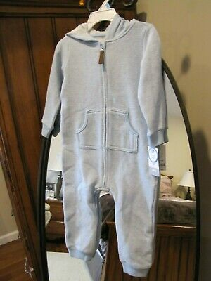 603a99259 Baby Boy CARTERS Blue Bear One Piece Hooded Jumpsuit 24 Months Brand New