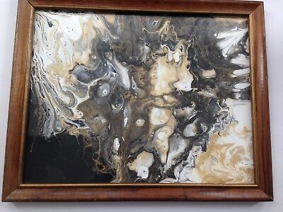 11 x 14 Flat Canvas Dirty Pour Abstract Fluid Acrylic Painting  with Frame !