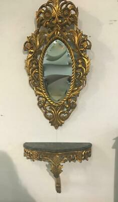 Rococo Influenced Carved French Louis  Gold  Small Console Table And Mirror