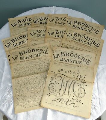 Antique Embroidery Magazines French La Broderie Blanche Patterns Whitework x10 A