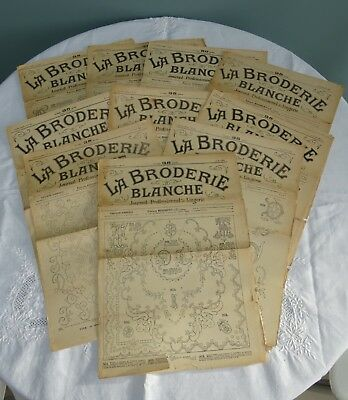 Antique Embroidery Magazines French La Broderie Blanche Patterns Whitework x10 C