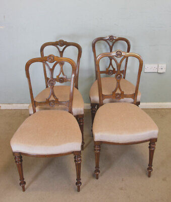 Quality Set Four Antique Late Victorian Walnut Dining Chairs