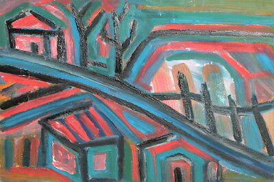 Vintage abstract oil painting houses landscape
