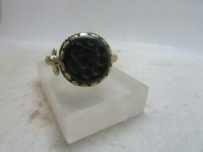 Antique islamic gold gilded ring with stone