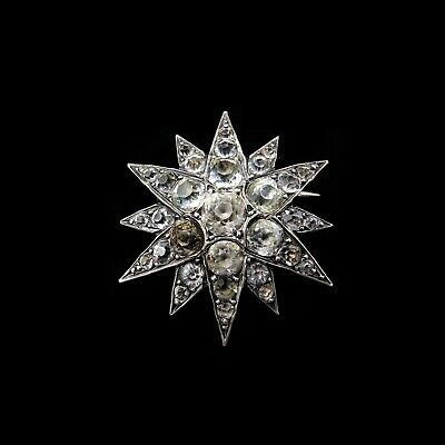Antique Victorian Old Cut Paste Sterling Silver Star Brooch Pin Circa.1860