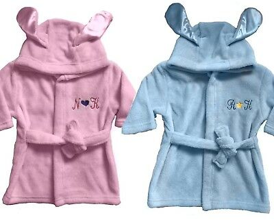 Personalised embroidered baby hooded wrap dressing gown bath robe gift Boy Girl