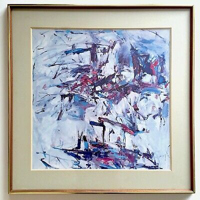 "Joan Mitchell Rare Vtg 1967 Framed Lithograph Print ""George Went Swimming"" 1957"