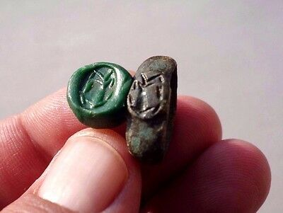 Roman bronze carved ring displayed a palm tree in Judea, Roman province period