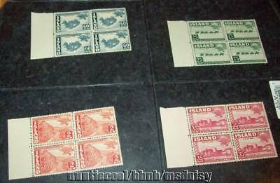 Iceland Stamps 1949,sc 253-56,mnh,blocks Of 4,upu Issues