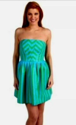 3a98059285f299 LILLY PULITZER EVE Swizzle Green Blue Striped Empire Waist Strapless ...