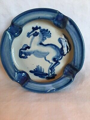 Vintage Mary Hadley Hand Painted Ash Tray Ashtray Rearing Horse Blue