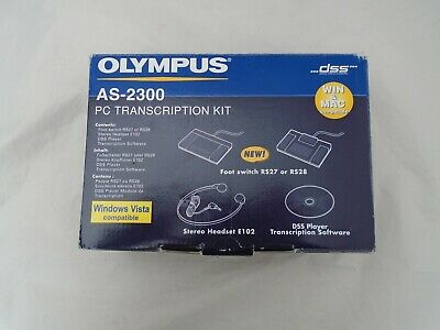 Boxed and Unused Olympus AS-2300 PC Transcription Kit Headset Footswitch Win Mac